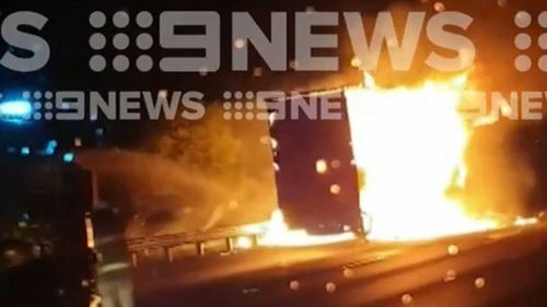 A Woolworths truck has gone up in flames on the Hume Highway.