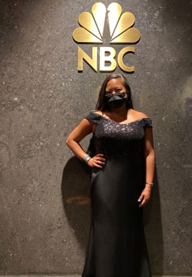 Anna Berger, a Delta flight attendant who was among a select number of frontline workers at the Golden Globes, in her awards show outfit.