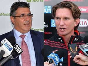 AFL boss Andrew Demetriou (L) and Essendon coach James Hird. (Getty)