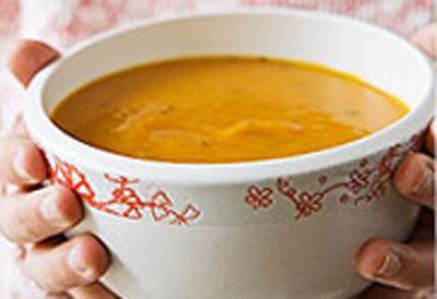 """Recipe:<a href=""""http://food.9msn.com.au/recipes/ipumpkin/8348659/pumpkin-and-tomato-soup"""">Pumpkin and tomato soup</a>"""