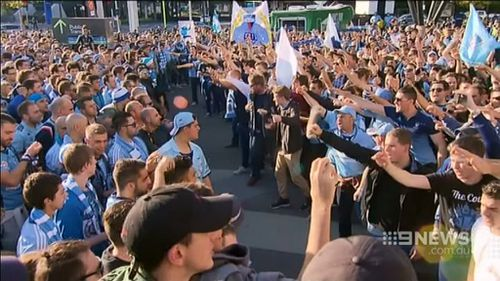 Passionate fans showed their excitement outside the ground. (9NEWS)