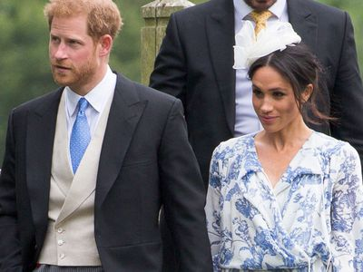 Prince Harry and Meghan Markle attend a family wedding, June 2018