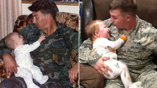 US soldier follows in dad's footsteps for heartwarming photo with baby son