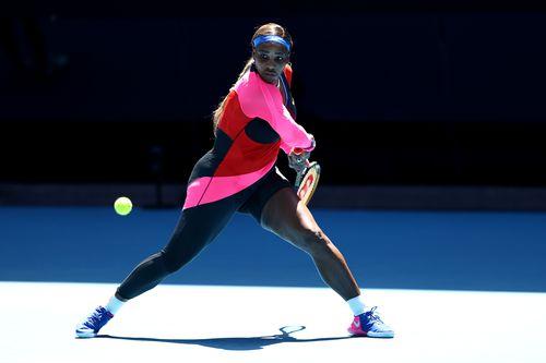 Serena Williams in her Women's Singles third round match against Anastasia Potapova of Russia today.