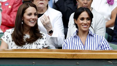 Kate and Meghan in the royal box at Wimbledon, July 2018