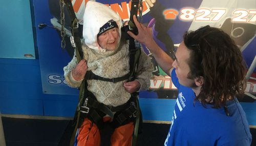 Irene O'Shea became the world's oldest female skydiver. (Christine Ahern)