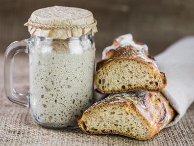 Sourdough starter mixture in a jar