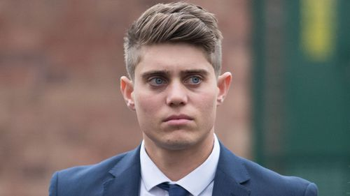 Cricketer Alex Hepburn leaves Worcester Crown Court.