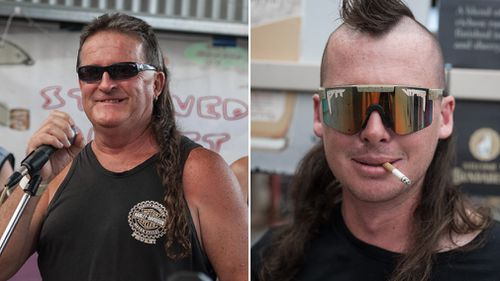 Mr Hanrahan, whose waist-length mullet has gone uncut since 1986, said his wife Julie — who is a hairdresser — signed him up for the festival. (AAP)