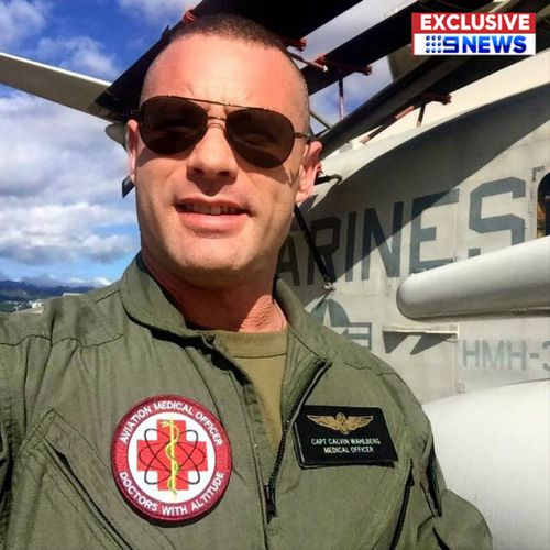 Calvin Wahlberg posing as a medical officer with the marines. Picture: 9NEWS