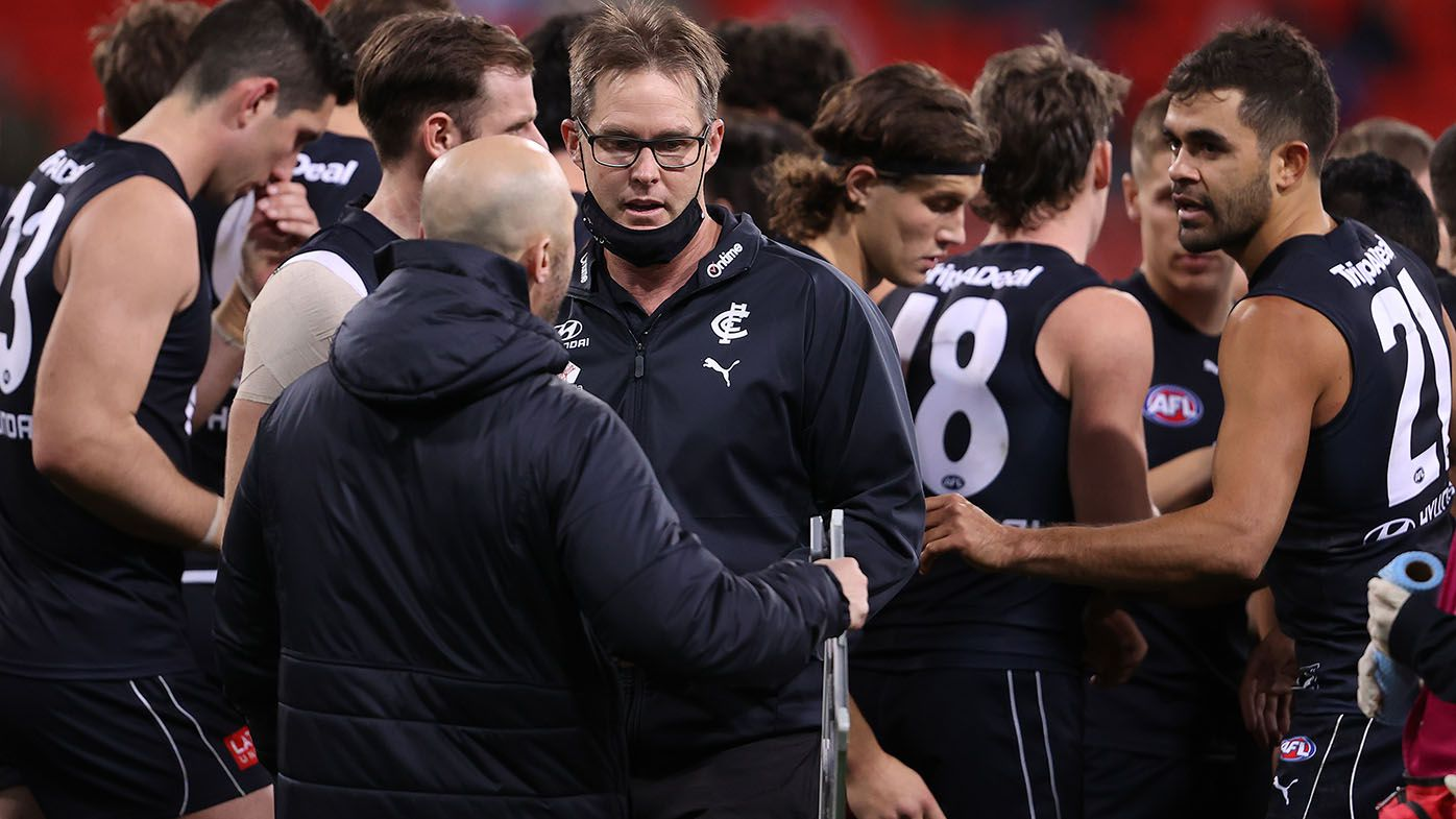 Carlton coach David Teague could be one game away from the sack, Kane Cornes says