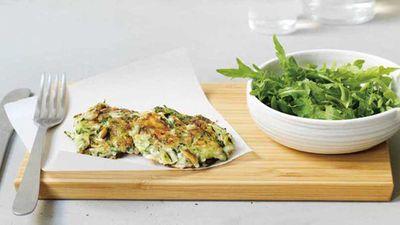 """Recipe:&nbsp;<a href=""""http://kitchen.nine.com.au/2017/07/16/17/08/zucchini-and-feta-fritters"""" target=""""_top"""">Zucchini and feta fritters</a>"""