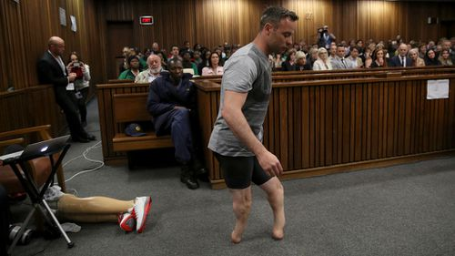 The release of the images came on the same day Pistorius walked on his stumps on the third day of his sentencing hearing at the High Court in Pretoria, South Africa. (AAP)