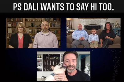 Hugh Jackman, dog, Dali, interrupts virtual call