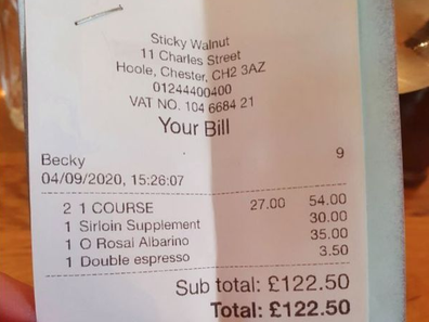Restaurant receipt (Tripadvisor)