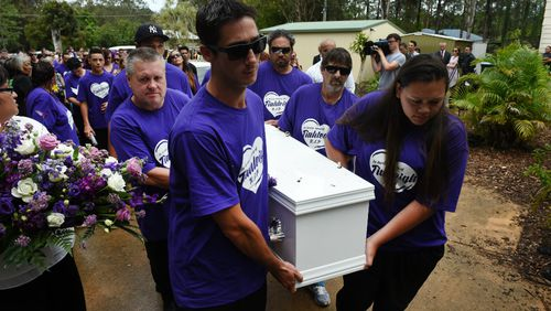 Rick Thorburn (left) was a pallbearer at Tiahleigh's funeral. Picture: AAP