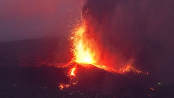 Lava from a volcano eruption flowed on the island of La Palma in the Canaries, Spain.