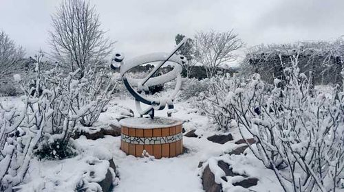 A snow-caked sculpture on a property at Stanthorpe in Queensland. (AAP)