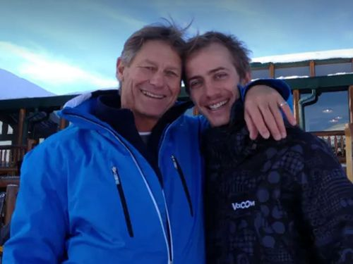 Rob Scott with his dad Steve Scott in Canada, where he was working for a snowboarding season, just before the attack happened.