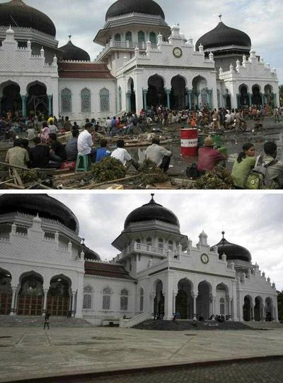 Tsunami survivors gathering in front of the Baitulrahman Mosque on 26 December 2004 (top) and a view of the same area on 16 December 2014 (bottom), in Banda Aceh, Indonesia. (EPA)