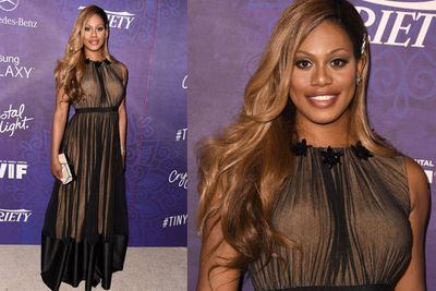Laverne Cox has every reason to smile after getting an Emmy nom for <i>Orange is the New Black</i>.