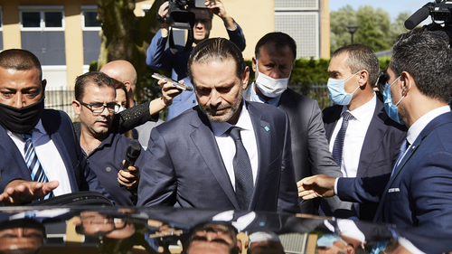 Former Prime Minister Saad Hariri leaves the Lebanon Tribunal on August 18, 2020 in The Hague, Netherlands.