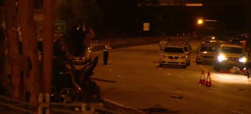 The crash scene last night. (9NEWS)