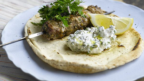 Lemon and oregano lamb kebabs