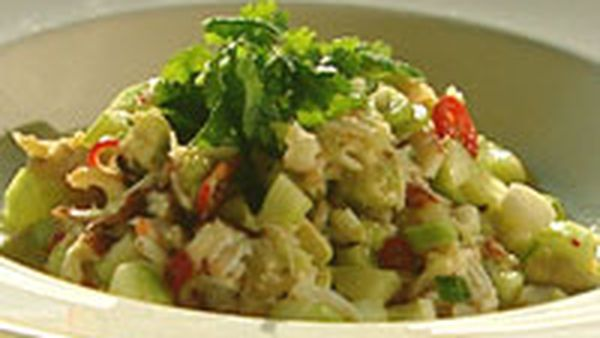 Crab, avocado and coconut salad