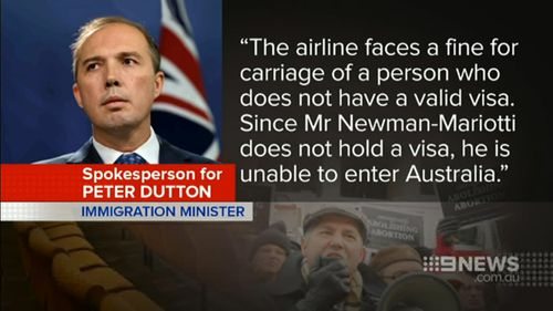 The statement by a spokeswoman for Immigration Minister Peter Dutton.
