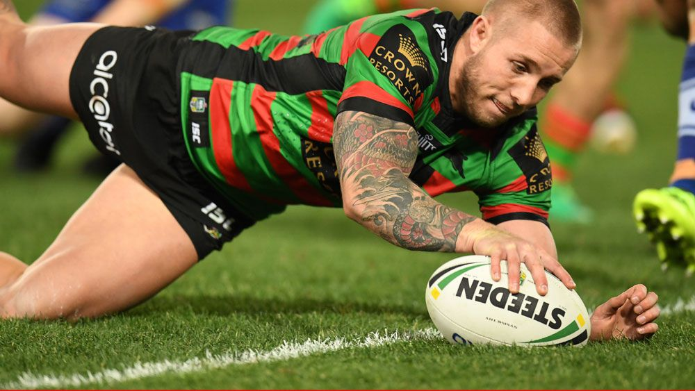 Aaron Gray crosses for a try for the Rabbitohs against Canterbury. (AAP)