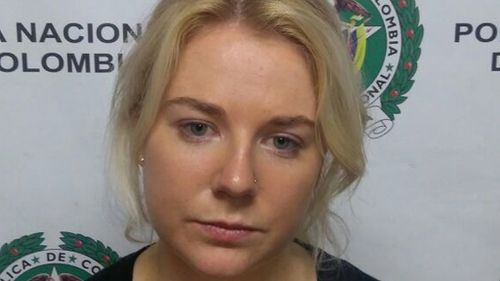 The family of Cassie Sainsbury, arrested in Colombia on drug charges, claim she was set up by a man she only just met. (Colombia National Police)