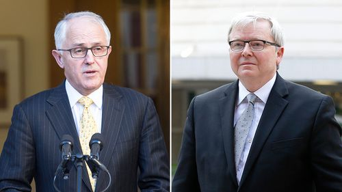 Prime Minister Malcolm Turnbull and former prime minister Kevin Rudd. (AAP)