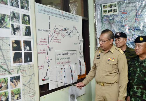 Thai Prime Minister Prayut Chan-o-cha inspects the rescue plans ahead of the latest operation. Picture: AP