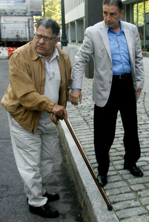 "John ""Sonny"" Franzese, left, at a 2010 court appearance in Brooklyn with his son John Jr. John Jr was asked to give evidence at the trial against his father. (AP Photo/Bebeto Matthews, File)"