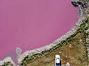 Aerial view of Corfo lagoon that has turned a striking shade of pink as a result of what local environmentalists are attributing to increased pollution from a nearby industrial park, in Trelew, Chubut province, Argentina, Thursday July 29, 2021.