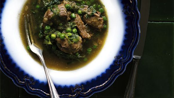 Lamb with anchovies and peas
