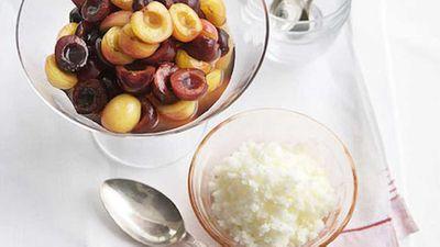 """Recipe:&nbsp;<a href=""""https://kitchen.nine.com.au/2016/05/17/13/40/december-cherry-salad-with-almondmilk-granita"""" target=""""_top"""">Cherry salad with almond-milk granita</a><br>"""