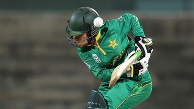 Pakistani women's opener Javeria Khan attempted to hook the bumper from Shamilia Connell but misjudged the delivery.