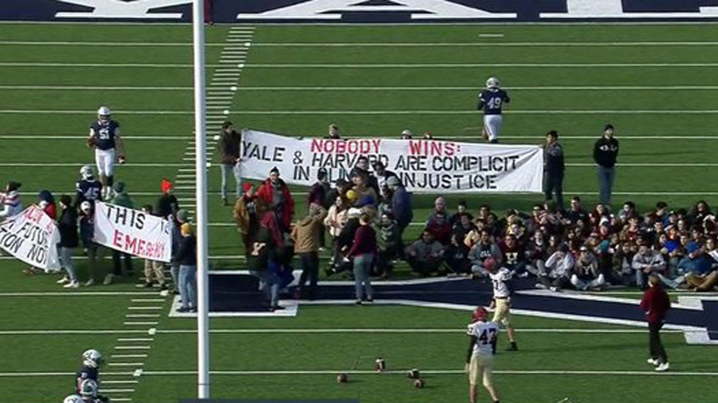 Iconic Yale v Harvard football game delayed by climate change student protest