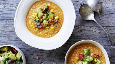 "Recipe: <a href=""http://kitchen.nine.com.au/2016/05/16/18/38/mexican-corn-soup-with-crushed-avocado"" target=""_top"" draggable=""false"">Mexican corn soup with crushed avocado</a>"
