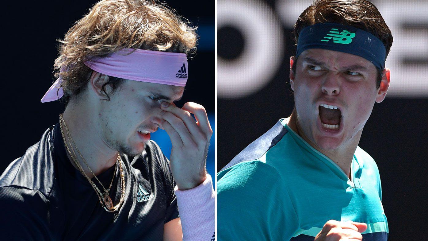 Australian Open: Alexander Zverev self-destructs as Milos Raonic cruises to straight sets victory