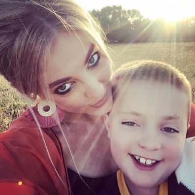 Kate Austin with her son
