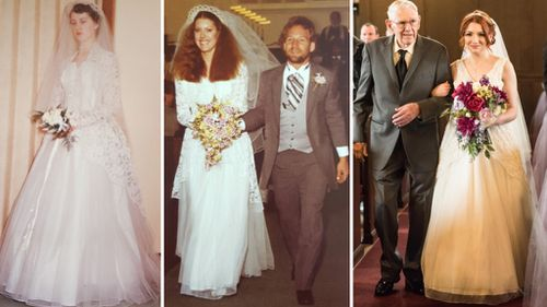 Bride restores and wears 'sentimental' third-generation wedding dress down the aisle