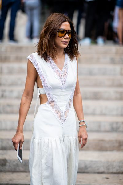 Stylist and Vogue Australia fashion director Christine Centenera at Schiaparelli Haute Couture  A/W 18/19 show in Paris, July 2018