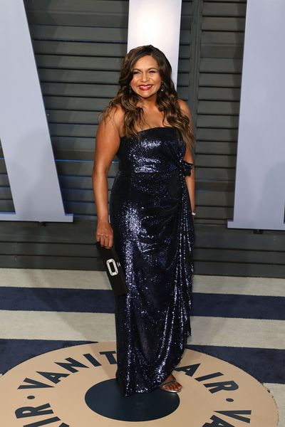 Mindy Kaling in Prabal Gurung at the 2018 Vanity Fair Oscars After Party