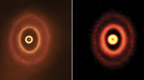 These images, captured in 2018 (left) and 2017 of GW Orionis show its misaligned rings.