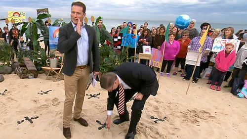 """""""To fund all that you're going to have to dig for treasure here on the beach to find the cash,"""" Karl Stefanovic said. (9NEWS)"""