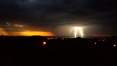 There were reports of hail and heavy rain as well as lightning across the state. (Kei Shia Lim)