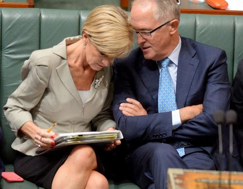 Voters are showing support for the Coalition, but only if Julie Bishop or Malcolm Turnbull becomes leader. (AAP)